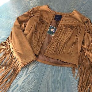Jackets & Blazers - Amaryllis Suede Fringe Jacket